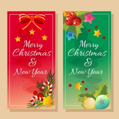 red and green banner christmas theme