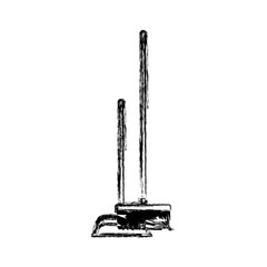 dustpan and broom in monochrome blurred silhouette