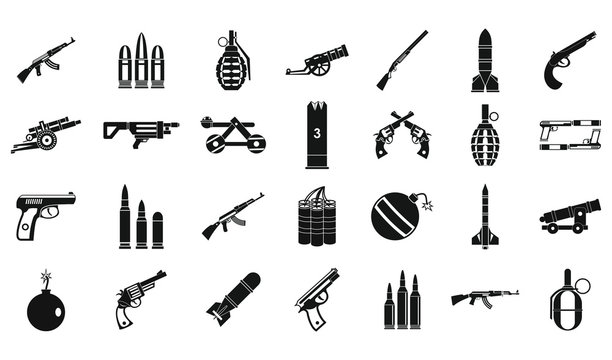 Weapons ammunition icon set, simple style