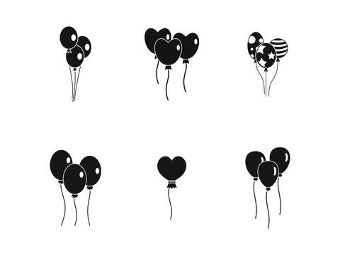 Ballons icon set, simple style