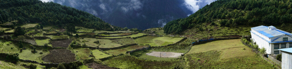Panorama View of Agriculture Field, Everest Base Camp Trek From Namche Bazaar to Tengboche , Nepal