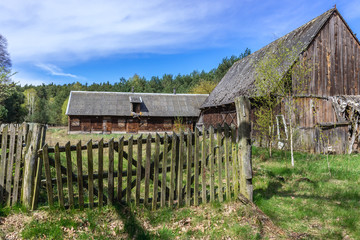 Desolate farm buildings in Kampinos Forest near Warsaw in Poland