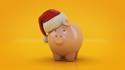 Pink Piggy Bank with Santa Hat. 3d rendering