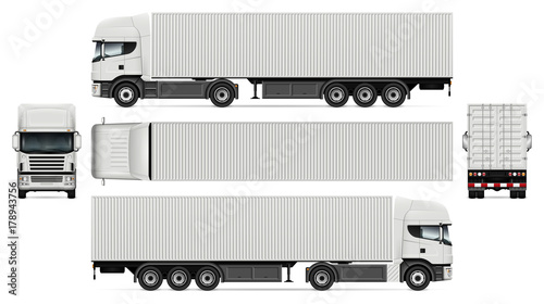 Vector Truck With Container Template For Advertising