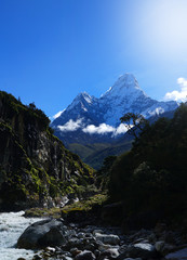 Ama Dablam  6,812 Metres Mountain,View from Imja Khola River, Everest Base Camp Trek From Tengboche to Dingboche , Nepal