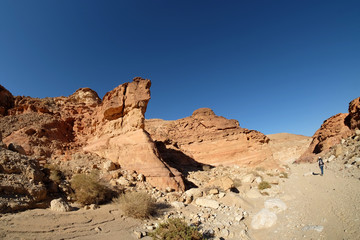 Scenic hike in Timna mountains.
