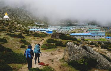 Two Trekkers Walking to Dingboche Village, Everest Base Camp Trek From Tengboche to Dingboche , Nepal