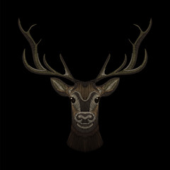 deer face embroidery for fashion design wearing