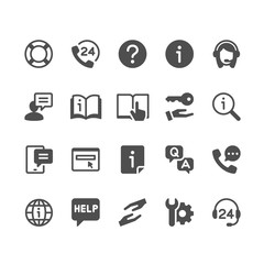 Help and support glyph icons