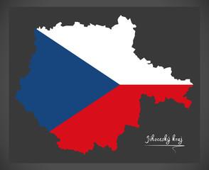 Jihocesky kraj map of the Czech Republic with national flag illustration