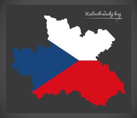 Kralovehradecky kraj map of the Czech Republic with national flag illustration