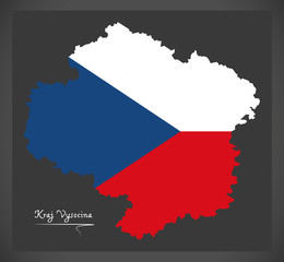 Kraj Vysocina map of the Czech Republic with national flag illustration