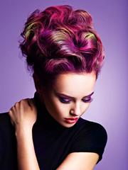 Beautiful woman with a stylish hairstyle