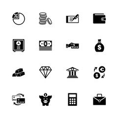 Banking icons - Expand to any size - Change to any colour. Flat Vector Icons - Black Illustration on White Background.