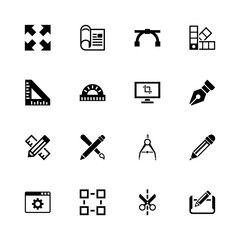 Blueprint icons - Expand to any size - Change to any colour. Flat Vector Icons - Black Illustration on White Background.