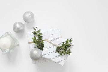 Modern Christmas decor. Black, white and green. Scandinavian style. Balls and boxwood