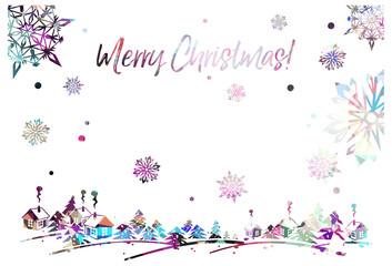"Sparkling silhouette frame with winter village and greeting text ""Merry Christmas!""."
