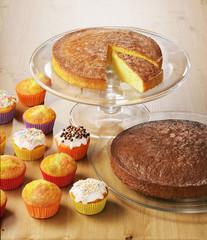 chocolate and vanilla cake with muffins