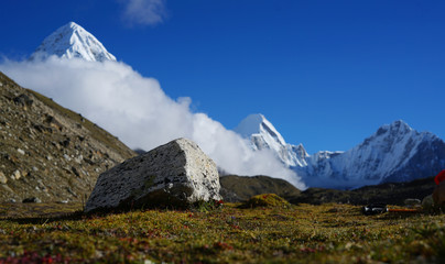 Big Stone In Front Of Pumori Mount, Everest Base Camp Trek, Nepal