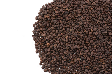 Roasted coffee beans isolated on white background,Free from copy space.