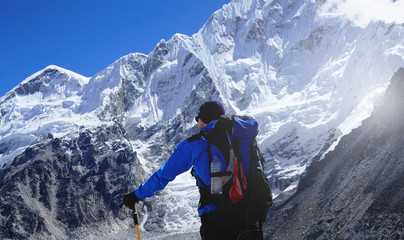 Trekker Standing In The Front of Pumori Mount, Everest Base Camp Trek, Nepal