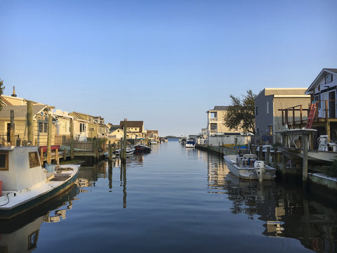 Looking Down a Canal Towards Great South Bay, Long Island, New York