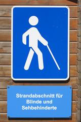 Schild Strandabschnitt für Blinde und Sehbehinderte