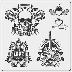 True love is love forever. Emblems with sword, heart and skull.