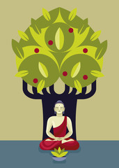 Buddha in Meditation and Bodhi Tree