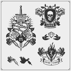 Vector set of tattoo salon labels, badges and design elements. Tattoo studio emblems with professional equipment, sword and skull.
