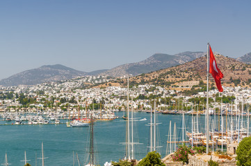 Sunny view of harbour from Castle of St. Peter, Bodrum, Mugla province, Turkey.