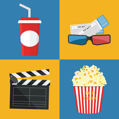 Vector illustration. Popcorn and drink. Film strip border. Cinema movie night icon in flat design style. Bright background.