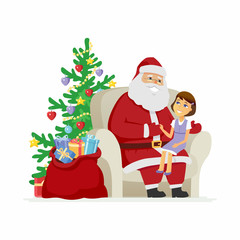 Santa and a girl - modern vector cartoon characters isolated illustration