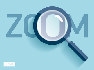 Magnifying glass in flat style on color background. Zoom loupe icon. Vector design object for you project