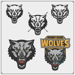 Set of emblems with wolves. Vector illustration.