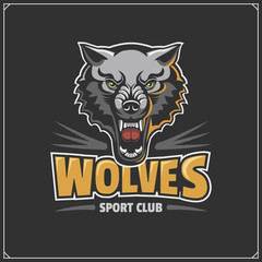 The emblem with wolf for a sport team.