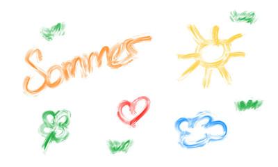 kindliche Zeichnung mit Pinsel