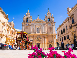 Papiers peints Monument Town square and Saint Poul Cathedral in Mdina village of Malta in Europe