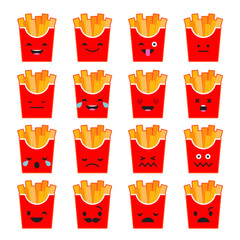 Set Emotions French Fries. Cute cartoon. Vector style smile icons.