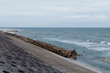 消波ブロックがある海岸