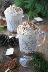 Hot cocoa with milk and whipped cream