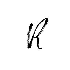 Hand painted letter R. Dry brush modern lettering. Vector illustration.