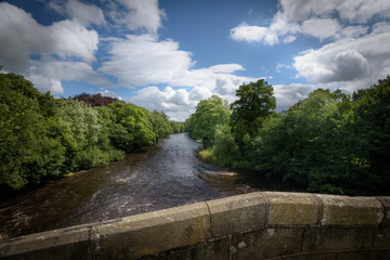 River Wharfe viewed from bridge at Ilkley England