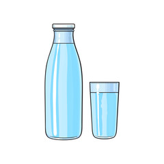 Vector cartoon glass bottle and cup of fresh cold water. Isolated illustration on a white background. Soft drink, refreshing beverage image.