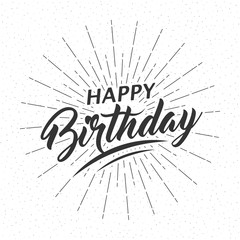 Vector monochrome text Happy Birthday for greeting card, flyer, poster with text lettering, light rays of burst. Isolated on white background.