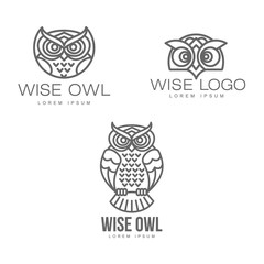 Printed roller blinds Owls cartoon wise hand drawn sitting wise owl, owl head closeup set. brand logo stylized design silhouette pictogram. Line icon bird isolated illustration on a white background.