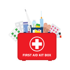 Medical first aid kit with different pills, syringe and thermometer.