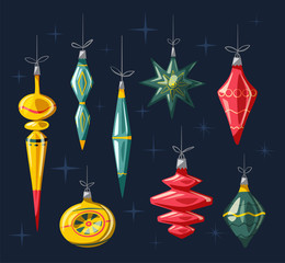 Christmas decorations with ribbon and bow. Cartoon vector illustration