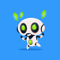 Cute Robot With Green Lightning Charge Isolated Icon On Blue Background Modern Technology Artificial Intelligence Concept Flat Vector Illustration