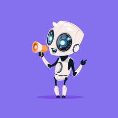 Wall Mural - Cute Robot Hold Megaphone Isolated Icon On Blue Background Modern Technology Artificial Intelligence Concept Flat Vector Illustration